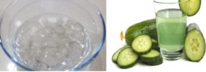 ice cubes cucumber juice