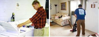 vacuuming and washing